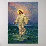 Vintage Religion, Jesus Portrait Walking on Water Poster