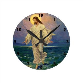 Vintage Religion, Jesus Portrait Walking on Water Round Clock