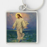 Vintage Religion, Jesus Portrait Walking on Water Silver-Colored Square Keychain
