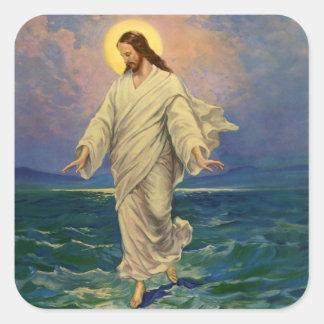 Vintage Religion, Jesus Portrait Walking on Water Square Sticker