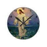 Vintage Religion, Jesus Walking on Water Portrait Round Clock