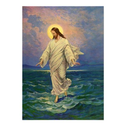 Vintage Religion, Jesus Walking on Water Portrait Announcements
