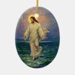 Vintage Religion, Jesus Walking on Water Portrait Christmas Ornaments