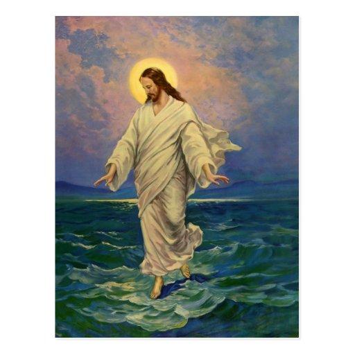 Vintage Religion, Jesus Walking on Water Portrait Post Cards