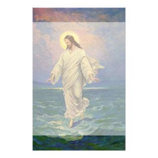 Vintage Religion, Jesus Walking on Water Portrait Customized Stationery