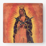 Vintage Religion, Lady of Guadalupe, Virgin Mary Square Wall Clock
