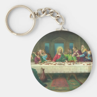 Vintage Religion, Last Supper with Jesus Christ Basic Round Button Keychain