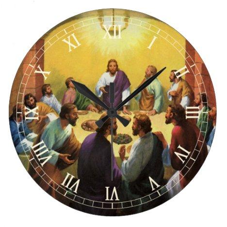 Vintage Religion, Last Supper with Jesus Christ Large Clock