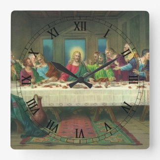 Vintage Religion, Last Supper with Jesus Christ Square Wall Clock