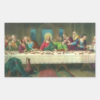 Vintage Religion, Last Supper with Jesus Christ Rectangular Sticker