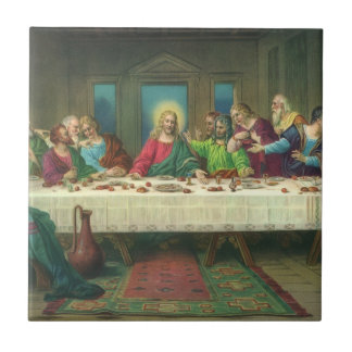 Vintage Religion, Last Supper with Jesus Christ Small Square Tile