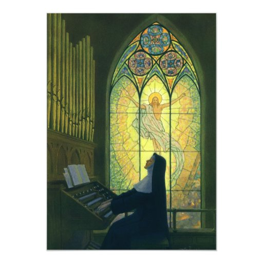 Vintage Religion, Nun Playing Music in Church 5x7 Paper Invitation Card
