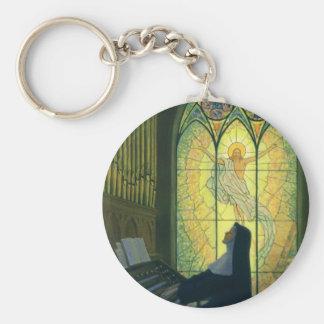 Vintage Religion, Nun Playing Music in Church Basic Round Button Keychain