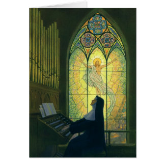Vintage Religion, Nun Playing Music in Church Greeting Card
