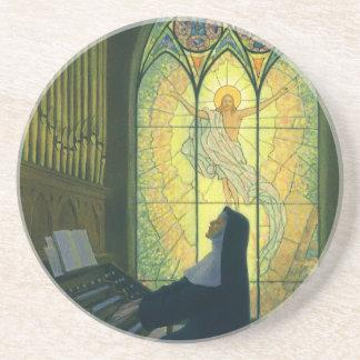 Vintage Religion, Nun Playing Organ in Church Sandstone Coaster