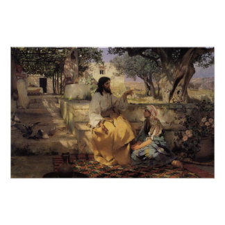 Vintage religion, picture Jesus in the garden, Poster