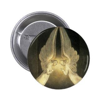 Vintage Religion, Portrait of Angels Praying Jesus 2 Inch Round Button