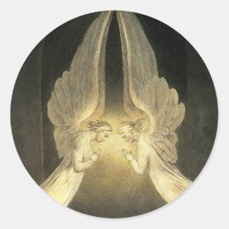 Vintage Religion, Portrait of Angels Praying Jesus Classic Round Sticker