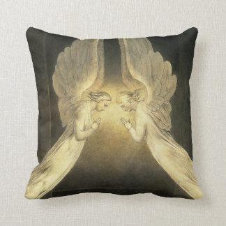 Vintage Religion, Praying Angels Portrait Throw Pillow