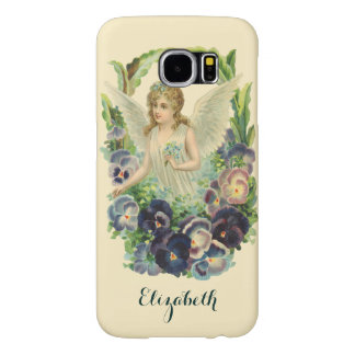 Vintage Religion, Purple Pansy Flower Easter Angel Samsung Galaxy S6 Case