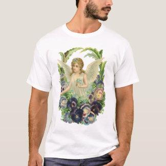Vintage Religion, Purple Pansy Flower Easter Angel T-Shirt
