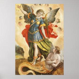 Vintage Religion, Saint Michael Defeats Lucifer Poster