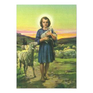 Vintage Religion, Shepherd Boy and Lamb Invitation