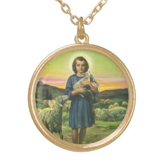 Vintage Religion, Shepherd Boy with Baby Lambs Gold Plated Necklace