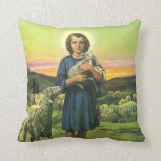 Vintage Religion, Shepherd Boy with Baby Lambs Throw Pillow