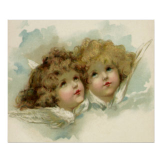 Vintage Religion, Victorian Angels in Clouds Poster