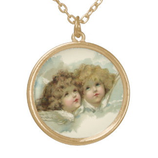 Vintage Religion, Victorian Angels in the Clouds Gold Plated Necklace