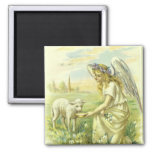 Vintage Religion, Victorian Easter Angel with Lamb 2 Inch Square Magnet