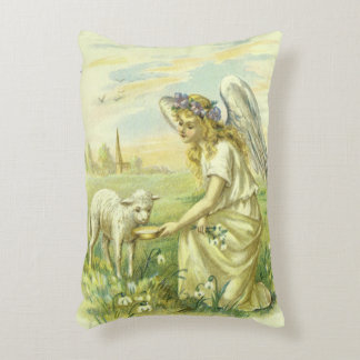 Vintage Religion, Victorian Easter Angel with Lamb Accent Pillow