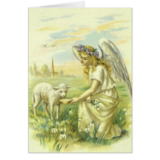 Vintage Religion, Victorian Easter Angel with Lamb Card