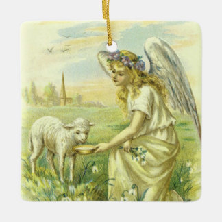 Vintage Religion, Victorian Easter Angel with Lamb Ceramic Ornament
