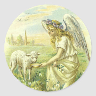 Vintage Religion, Victorian Easter Angel with Lamb Classic Round Sticker