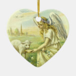 Vintage Religion, Victorian Easter Angel with Lamb Double-Sided Heart Ceramic Christmas Ornament