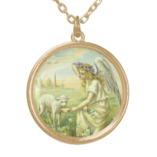 Vintage Religion, Victorian Easter Angel with Lamb Gold Plated Necklace