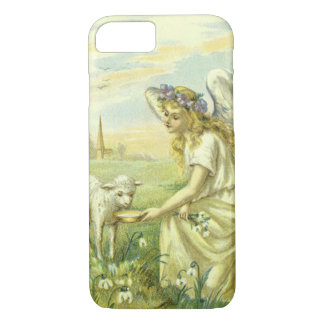 Vintage Religion, Victorian Easter Angel with Lamb iPhone 7 Case