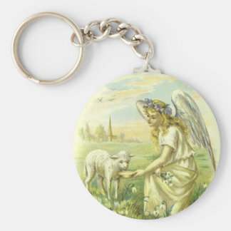 Vintage Religion, Victorian Easter Angel with Lamb Keychain