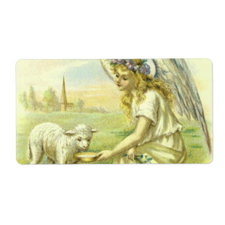 Vintage Religion, Victorian Easter Angel with Lamb Label