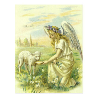 Vintage Religion, Victorian Easter Angel with Lamb Postcard