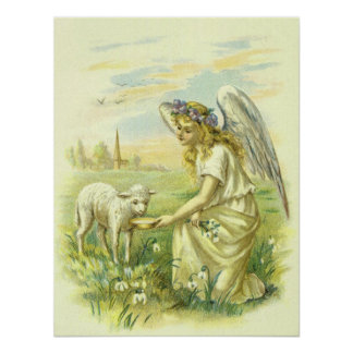 Vintage Religion, Victorian Easter Angel with Lamb Poster