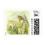 Vintage Religion, Victorian Easter Angel with Lamb Stamp