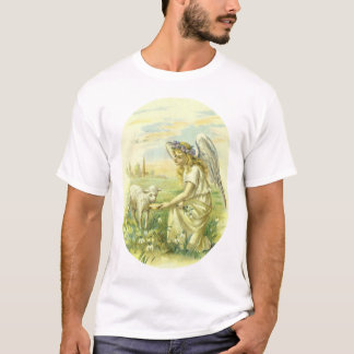 Vintage Religion, Victorian Easter Angel with Lamb T-Shirt