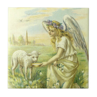 Vintage Religion, Victorian Easter Angel with Lamb Tile