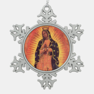 Vintage Religion, Virgin Mary, Lady of Guadalupe Snowflake Pewter Christmas Ornament