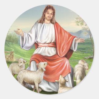 Vintage religioso Pascua, Jesús el pastor Etiquetas Redondas