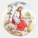 Vintage religioso Pascua, Jesús el pastor Pegatina Redonda