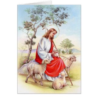Vintage religioso Pascua, Jesús el pastor Tarjeta De Felicitación
